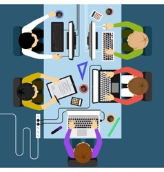Office workers business management meeting and vector image