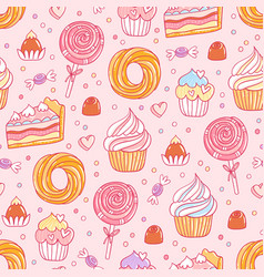 Pastry and sweets pattern vector