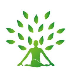 Person meditating under a tree vector
