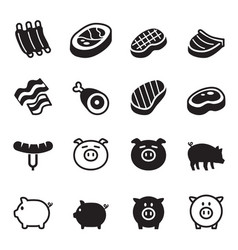 Pig pork icons set vector