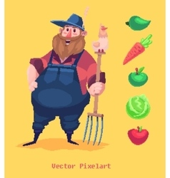 Pixel funny farmer character isolated on yellow vector