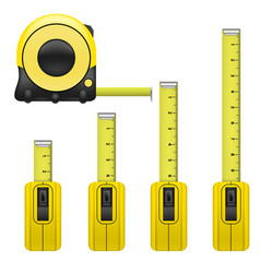 realistic detailed measure tape set vector image vector image