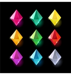 Set of cartoon different color crystalsgemstones vector image vector image