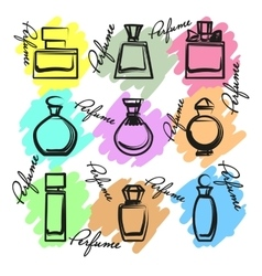 Set of different perfume bottles in vector image