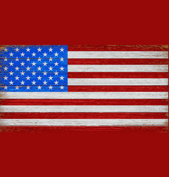usa american flag painted on old wood plank vector image vector image