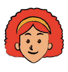 woman face smile expression cartoon character on vector image