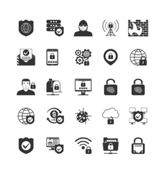 Internet security black icons set vector