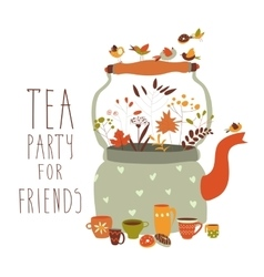 Tea party with teapot and cups vector image