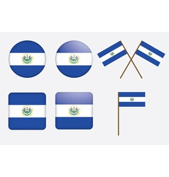 El salvador flag badges vector