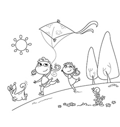 Kids and dog playing with kites vector