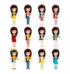 Beautiful cartoon fashion girl cloth vector