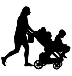 black silhouettes family with pram on white vector image