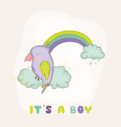 cute parrot on a rainbow baby shower card vector image