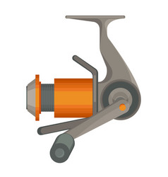 Orange spinning reel for fishing in flat design vector