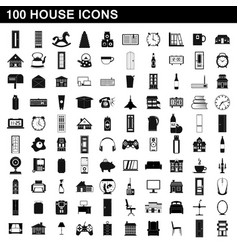 100 house icons set simple style vector