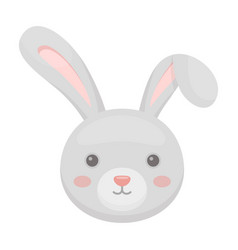 Grey rabbit with long ears easter single icon in vector
