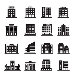 Hotel building office tower building icons set vector