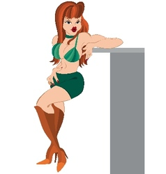Cartoon girl standing in green shirts and boots vector