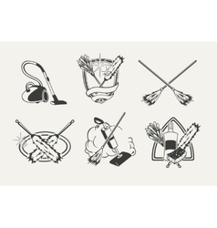 Set of cleaning emblems badges labels and vector