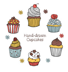 43-3 set of hand-drawn cupcakes vector image vector image