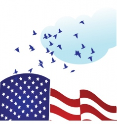 American flag with doves vector