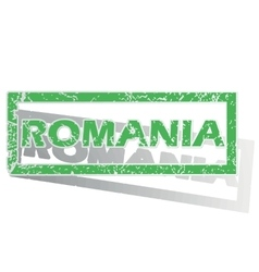 Green outlined romania stamp vector