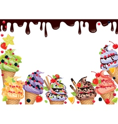 Ice cream frame vector
