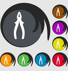 Pliers icon sign symbol on eight colored buttons vector