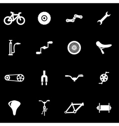 White bicycle icon set vector