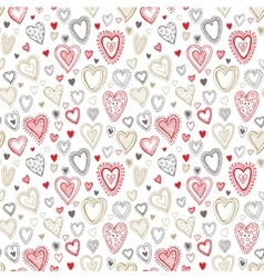 Seamless love red and gold heart background vector image