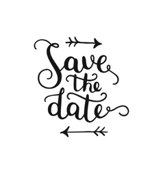 Save the date hand drawn lettering vector