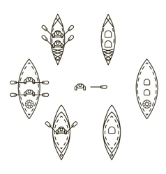 Set of icons with kayaks vector