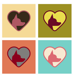 Assembly flat icons puppy dog heart vector