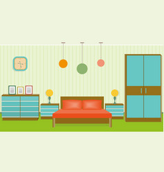Bright bedroom interior in flat style vector
