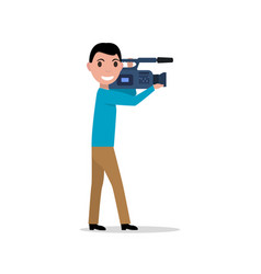 Cartoon professional videographer vector