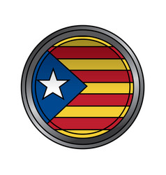 Catalonia flag patriotic independence button badge vector