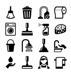 Cleaning icons set on white background vector