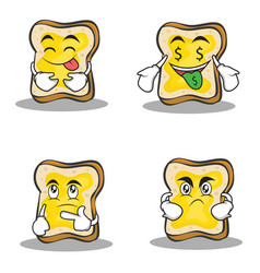 collection of bread character cartoon set design vector image vector image