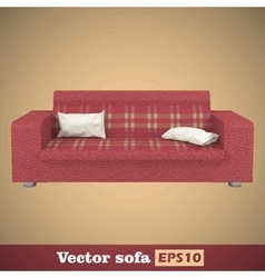 Creative concept red sofa isolated on gold vector image vector image