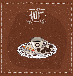 Cup of coffee with saucer lie on lacy napkin vector