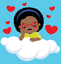 cute black girl with heart shaped glasses on cloud vector image vector image