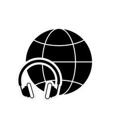 Earth globe diagram and headphones icon vector