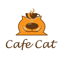 Fat cat with cup vector