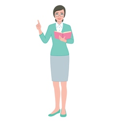 Female teacher with a book vector image vector image