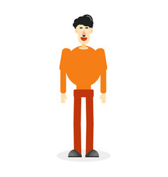 flat color man on white vector image