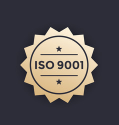 Iso 9001 badge label vector