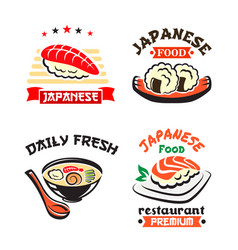 Japanese food symbol set for sushi bar design vector