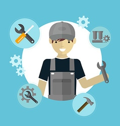 Modern flat concept of mechanic with tools vector image