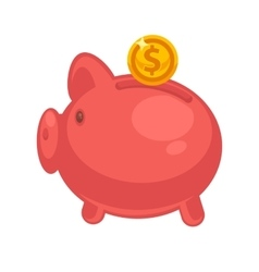 Pig piggy bank with coins in vector