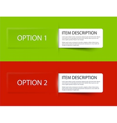Set of Colorful Sample option cards vector image vector image